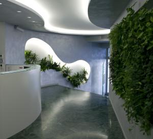 В дизайне интерьера фитостену отлично поддерживает ниша с растениями